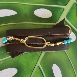 Leather and Tourquiose Bracelet